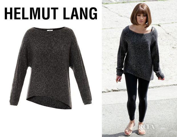 Lea Michele's Helmut Lang Flecked Alpaca-Blend Sweater