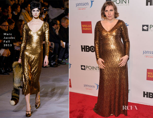 Lena Dunham In Marc Jacobs - 2014 Point Honors New York Gala