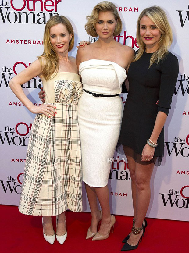 Leslie Mann In Delpozo, Kate Upton In Christian Siriano & Cameron Diaz In Dior - 'The Other Woman' Amsterdam Premiere