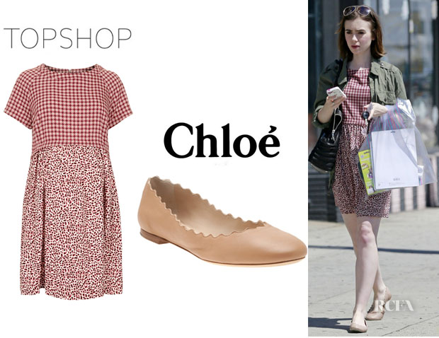 Lily Collins' Topshop Animal Tile Dress And Chloé 'Lauren' Scalloped-Edge Flats