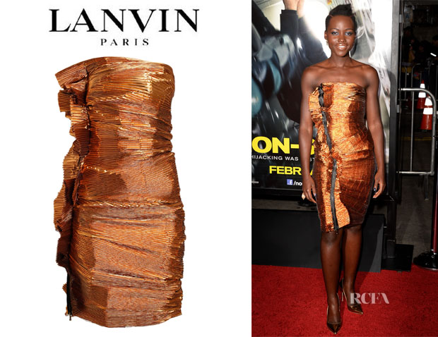 Lupita Nyong'o's Lanvin Accordion Pleated Metallic Lurex Dress