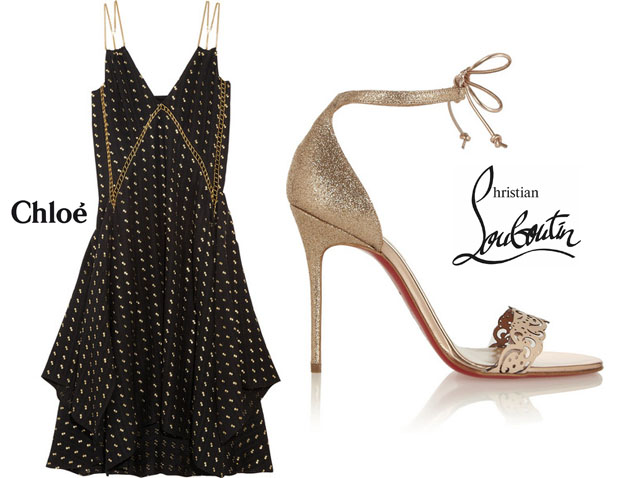 Masami Nagasawa In Chloé & Christian Louboutin Valnina 100 glitter-finished and leather sandals