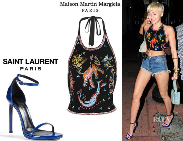Miley Cyrus' Maison Martin Margiela Sequin Embroidered Velvet Top And Saint Laurent 'Jane' Sandals1