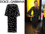 Mollie King's Dolce & Gabbana Coin-Print Silk-Chiffon Dress