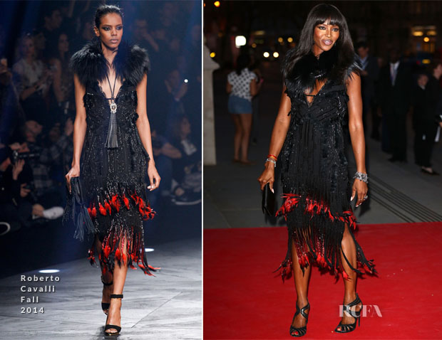 Naomi Campbell In Roberto Cavalli - The Glamour of Italian Fashion Exhibition Preview