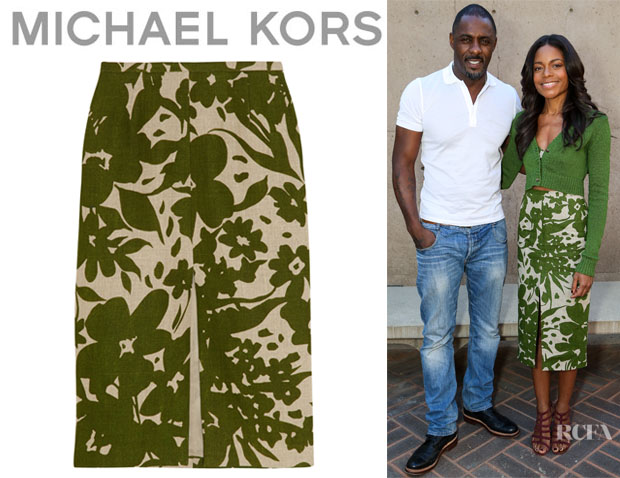 Naomie Harris' Michael Kors Printed Linen Pencil Skirt
