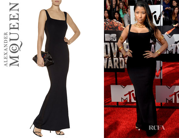 Nicki Minaj's Alexander McQueen Sheer Spine-Paneled Gown