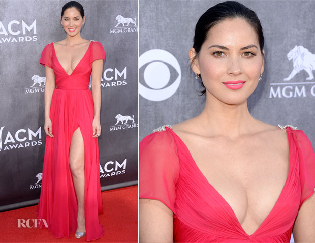 Olivia Munn In Reem Acra - ACM Awards 2014