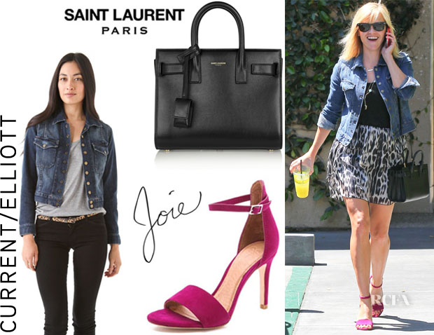 Reese Witherspoon's CurrentElliott 'The Snap' Jacket, Joie 'Jaclyn' Sandals And Saint Laurent 'Sac De Jour Nano Baby' Leather Tote