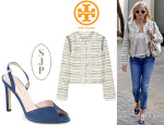 Reese Witherspoon's Tory Burch 'Nicole' Embellished Tweed Jacket And SJP 'Slim' Peep Toe Pumps