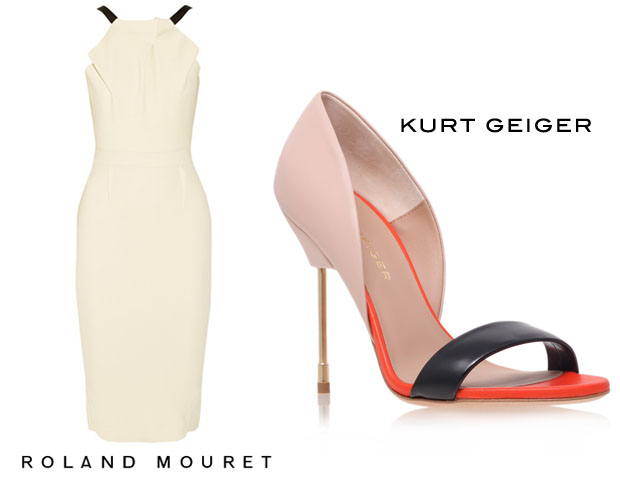Roland Mouret Abbotsford crepe dress and Kurt Geiger Bank Sandals