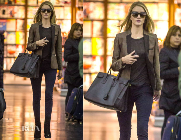 Rosie Huntington-Whiteley In Zadig & Voltaire & Frame Denim - LAX