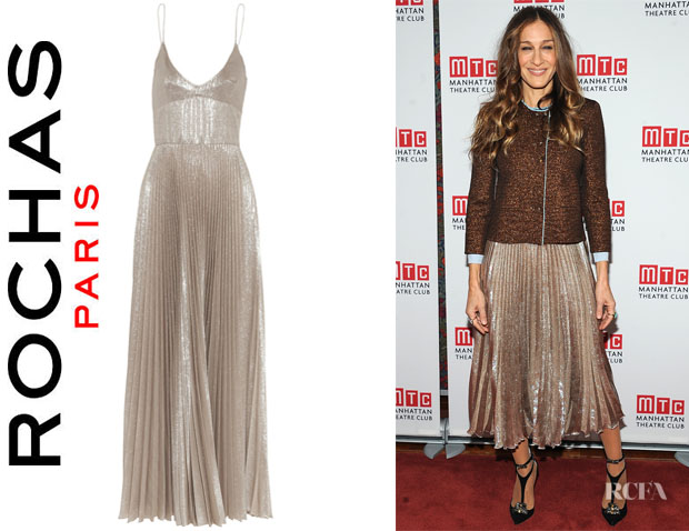 Sarah Jessica Parker's Rochas Pleated Metallic Woven Silk-Blend Dress