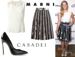 Sasha Pieterse's Marni Harlequin Collar Top, Marni Striped Duchesse Satin Skirt And Casadei 'Blade' Pumps
