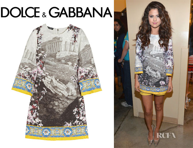 Selena Gomez' Dolce & Gabbana Printed Mini Dress