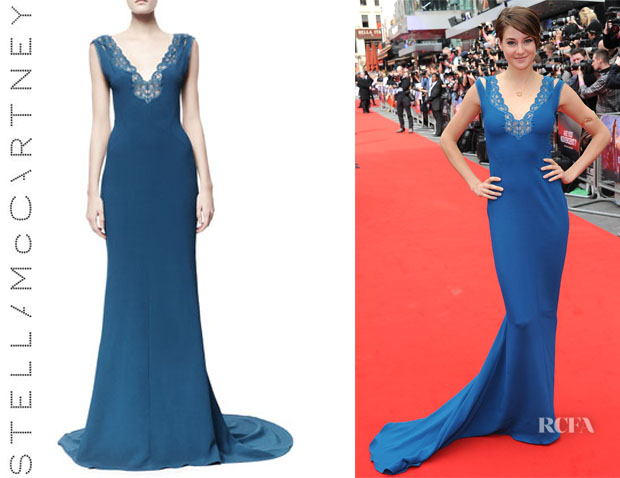 Shailene Woodley's Stella McCartney 'Betta' Lace-Trim Open-Back Gown