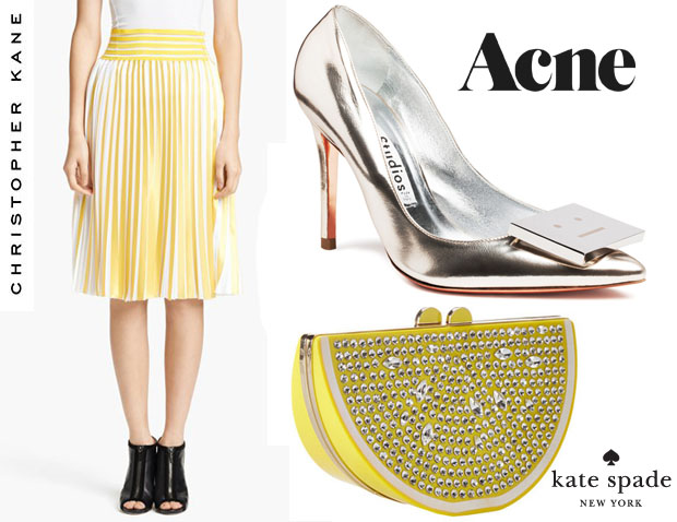 Solange-Knowles-Christopher-Kane-skrit-and-Kate-Spade-New-York-Via-Limoni-Lina-bag & Acne Andrea Silver pumps