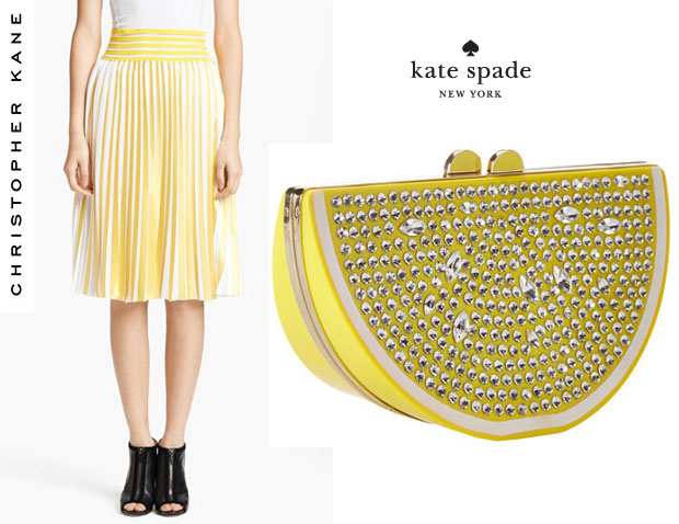 Solange Knowles Christopher Kane skrit and Kate Spade New York 'Via Limoni Lina' bag