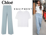 Victoria Beckham's Chloé Wide Leg Pants And Equipment 'Logan' Blouse