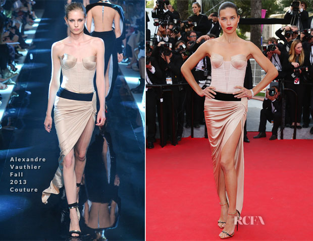 Adriana Lima In Alexandre Vauthier Couture - 'The Homesman' Cannes Film Festival Premiere