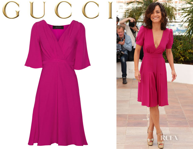 Alice Braga's Gucci Silk-Cloqué Dress