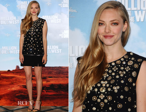 Amanda Seyfried In Alexander McQueen - 'A Million Ways To Die In The West' London Photocall