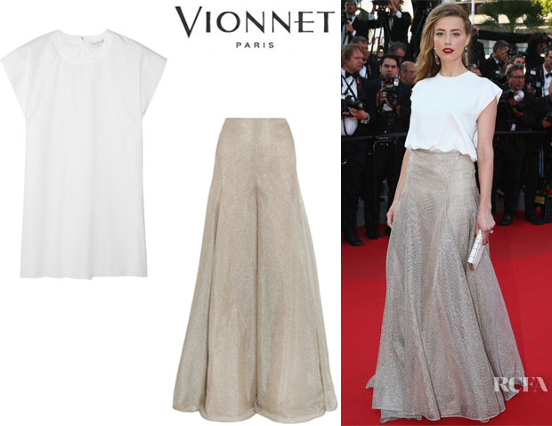 Amber Heard's Vionnet Stretch Cotton-Blend Top And Vionnet Metallic Woven Wide-Leg Pants