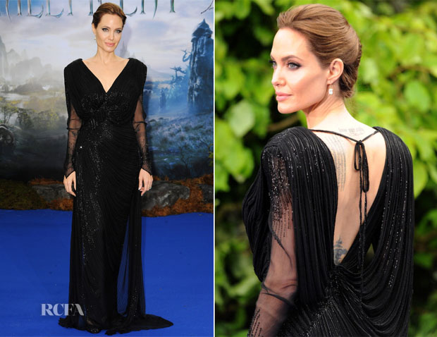 Angelina Jolie In Atelier Versace - 'Maleficent' Private Reception