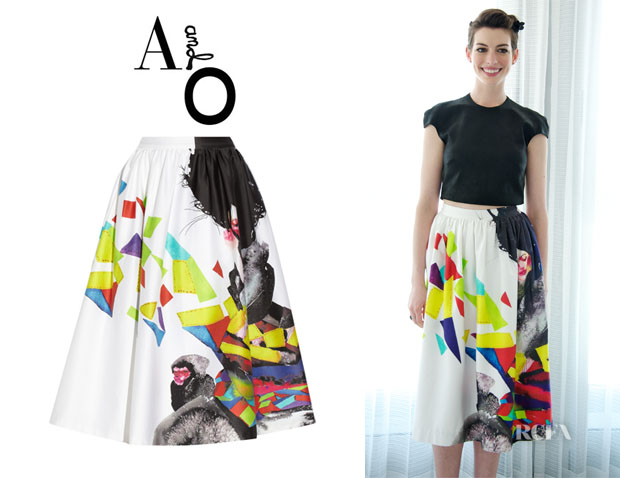 Anne Hathaway's Alice + Olivia Printed Stretch-Cotton Midi Skirt