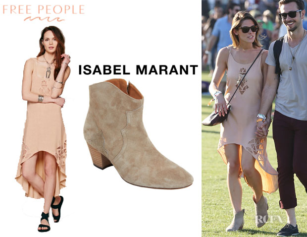 Ashley Greene's Free People 'Nora' Cutwork Dress And Isabel Marant 'Dicker' Boots