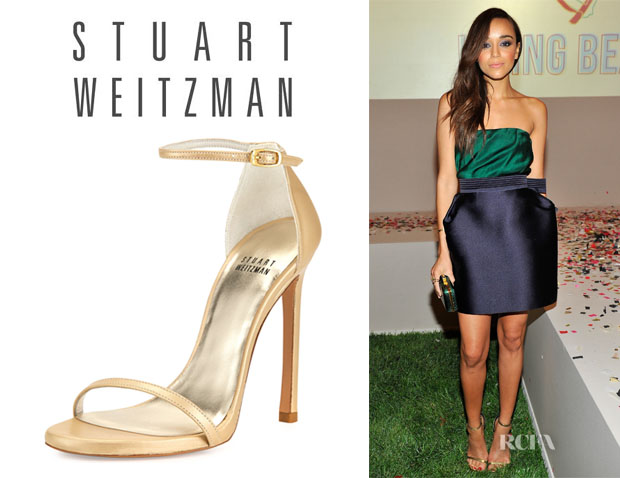 Ashley Madekwe's Stuart Weitzman 'Nudist' Ankle-Strap Sandals