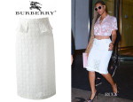 Beyonce Knowles' Burberry Prorsum Broderie Anglaise Pencil Skirt