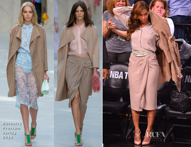 Beyonce Knowles In Burberry Prorsum - Miami Heat vs Brooklyn Nets Playoff Game