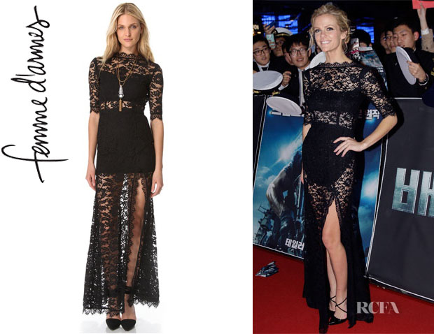Brooklyn Decker's Femme D'armes 'Bailey' Lace Gown