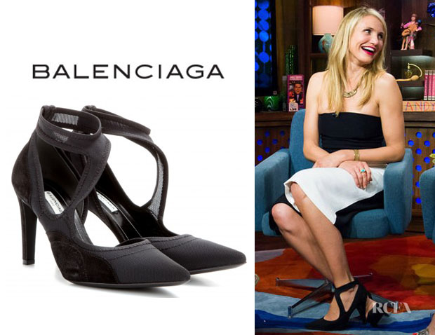 Cameron Diaz' Balenciaga Mesh Point-Toe Cutout Pumps