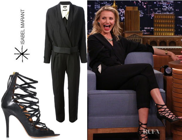 Cameron Diaz' Isabel Marant 'Ofira' Jumpsuit And Isabel Marant 'Paw' Sandals