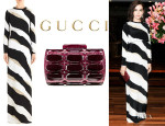 Camilla Belle's Gucci Zebra Print Gown And Gucci Evening Clutch