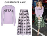 Chloe Moretz' Christopher Kane 'Petal' Sweater And Christopher Kane Laser-Cut Skirt
