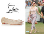 Dita Von Teese's Christian Louboutin 'Body Strass' Embellished Mesh Point-Toe Flats