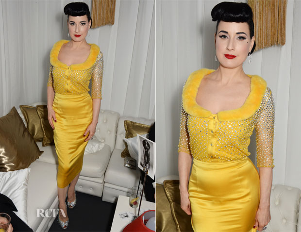 Dita von Teese In Blumarine - Naomi Campbell's 44th Birthday Party