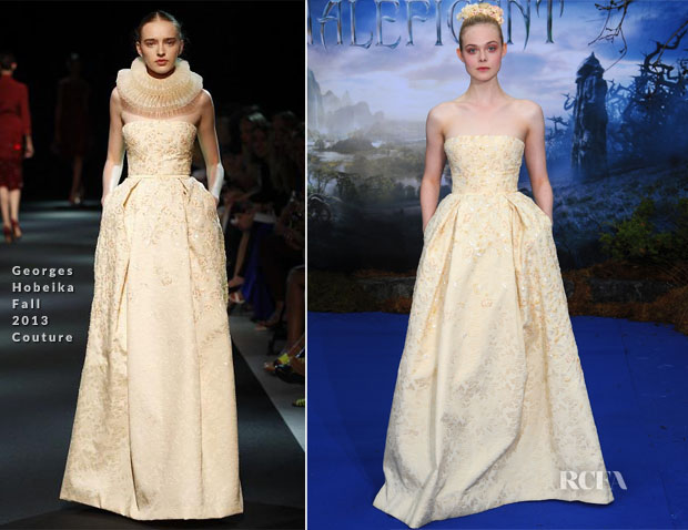 Elle Fanning In Georges Hobeika Couture - 'Maleficent' London Premiere