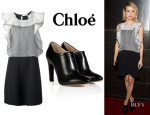 Emma Roberts' Chloé Ruffled Dress And Chloé Leather Ankle Boots