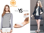 Emmy Rossum's Tory Burch 'Kamila' Sweater And Yosi Samra 'Cambelle' Flat Sandals