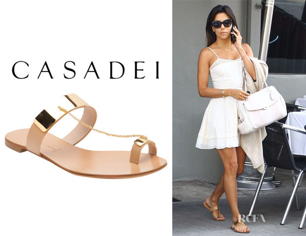 Eva Longoria's Casadei Gold Plated Sandals