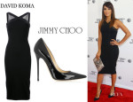 Eva Longoria's David Koma Halter Cut Out Dress And Jimmy Choo 'Anouk' Pumps