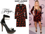 Fergie's Saint Laurent Lip-Stick Print Dress And Fergie 'Cash' Sandals