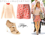 Fergie's Stella McCartney 'Estelle' Silk Blouse, Stella McCartney Heart Print Shorts And Fergie 'Daphne' Sandals