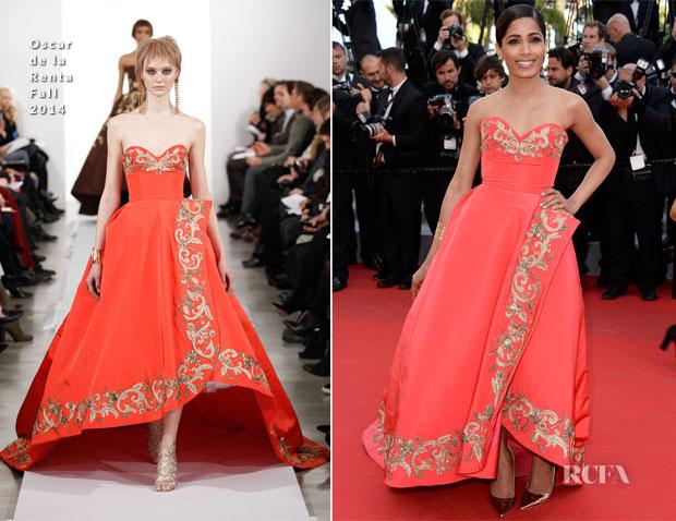 Freida Pinto In Oscar de la Renta - 'The Homesman' Cannes Film Festival Premiere