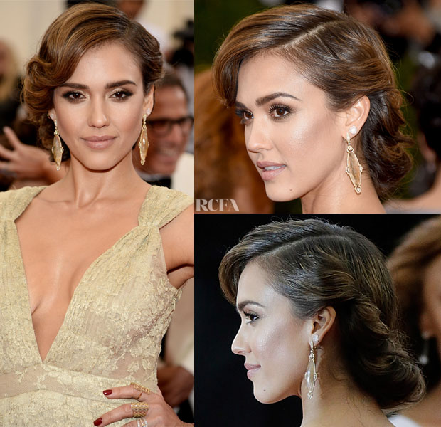 Get The Look Jessica Albas 50s Met Gala Updo Red Carpet Fashion