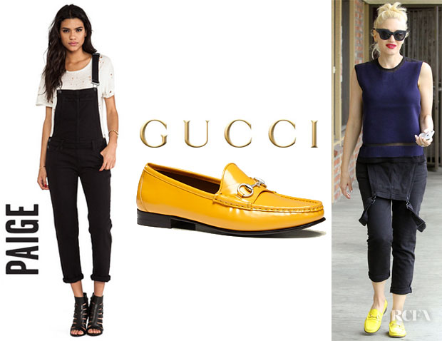 Gwen Stefani's Paige Denim 'Sierra' Overalls And Gucci '1953 Horsebit' Loafers